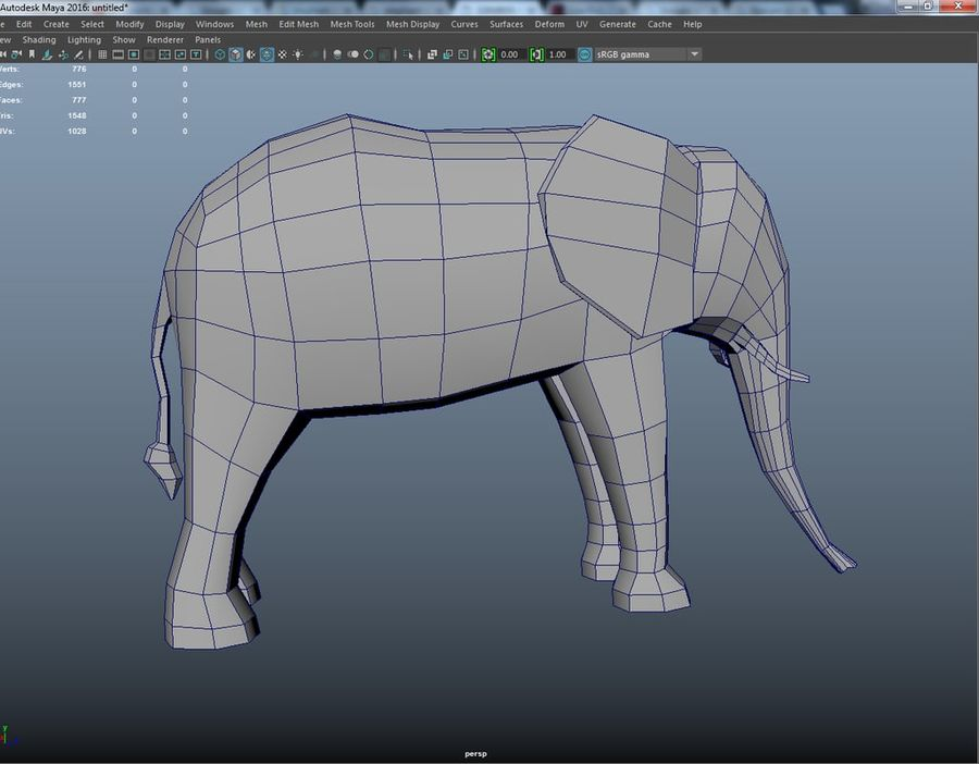 Elephant Low Poly royalty-free 3d model - Preview no. 6