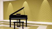 带有3d墙面板的现场钢琴 3d model