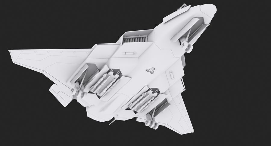Aircraft  - Space Fighter royalty-free 3d model - Preview no. 2