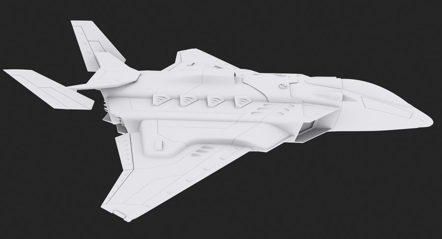 Aircraft  - Space Fighter royalty-free 3d model - Preview no. 11