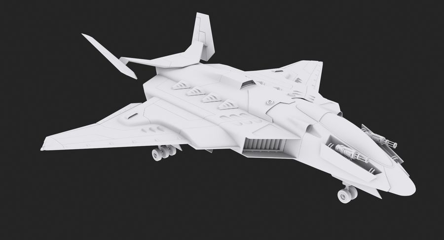 Flugzeuge - Space Fighter royalty-free 3d model - Preview no. 3