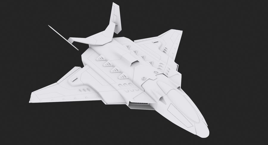 Aircraft  - Space Fighter royalty-free 3d model - Preview no. 7