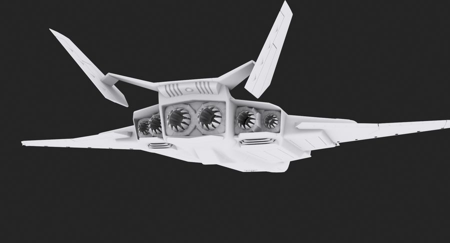 Aircraft  - Space Fighter royalty-free 3d model - Preview no. 10