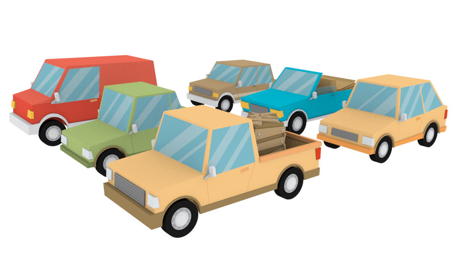 Cartoon cars royalty-free 3d model - Preview no. 3