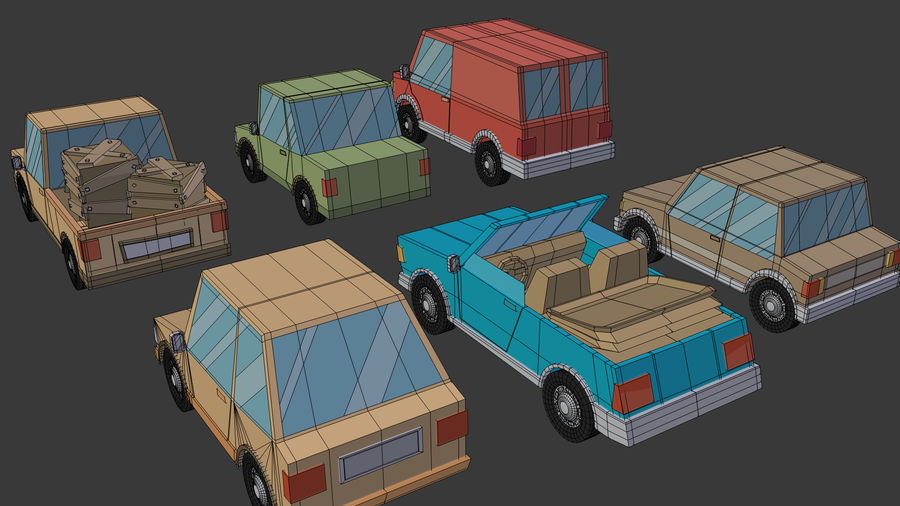 Cartoon cars royalty-free 3d model - Preview no. 22