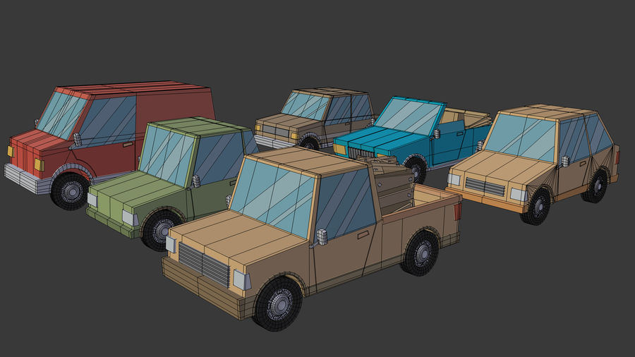 Cartoon cars royalty-free 3d model - Preview no. 21