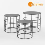 雷顿圆形咖啡桌,三件套 3d model