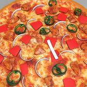 Pizza au poulet 3d model