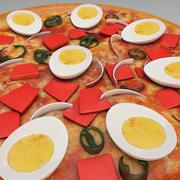 Pizza z patelnią na jajka 3d model