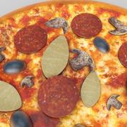 Mushroom pan pizza 3d model