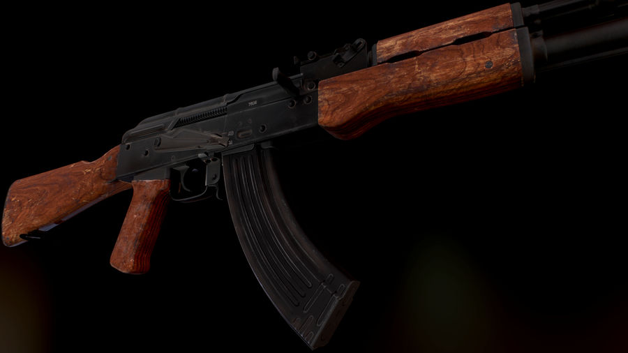 AK 47 1970 royalty-free 3d model - Preview no. 4