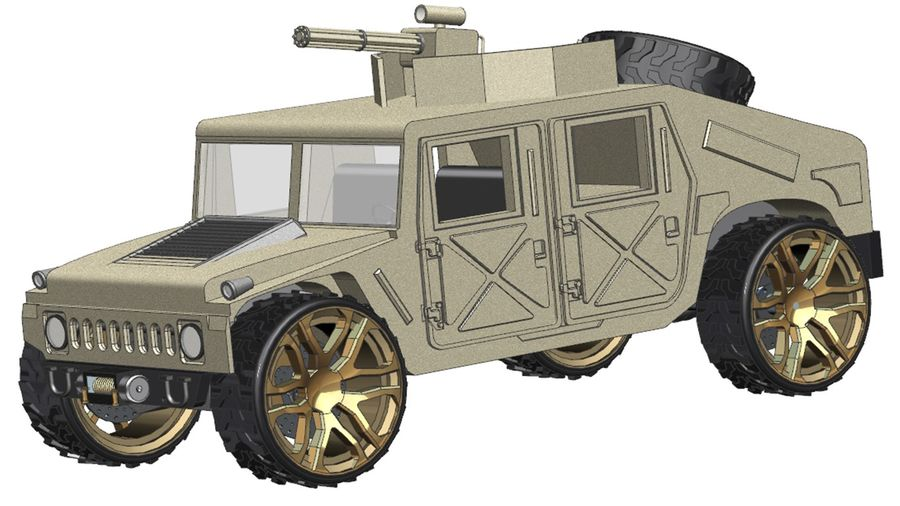 Army Hummer royalty-free 3d model - Preview no. 2