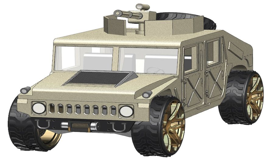 Army Hummer royalty-free 3d model - Preview no. 1