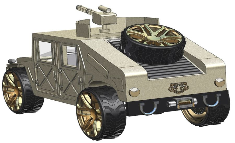 Army Hummer royalty-free 3d model - Preview no. 3