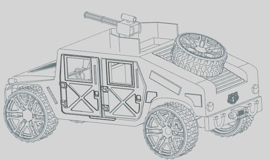 Army Hummer royalty-free 3d model - Preview no. 8