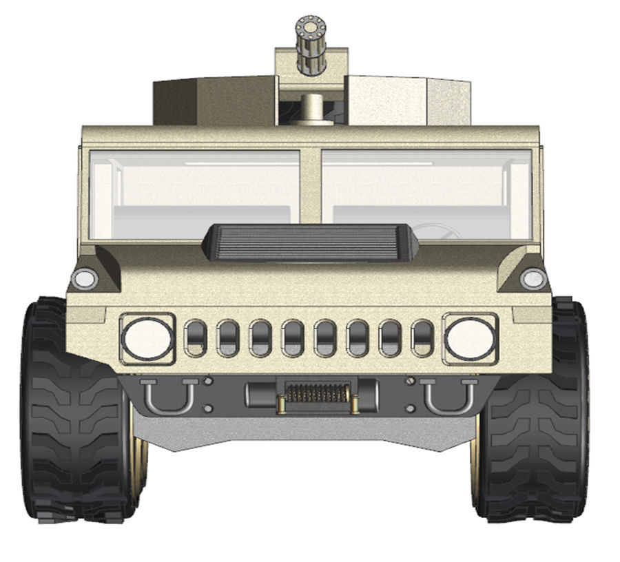 Army Hummer royalty-free 3d model - Preview no. 5
