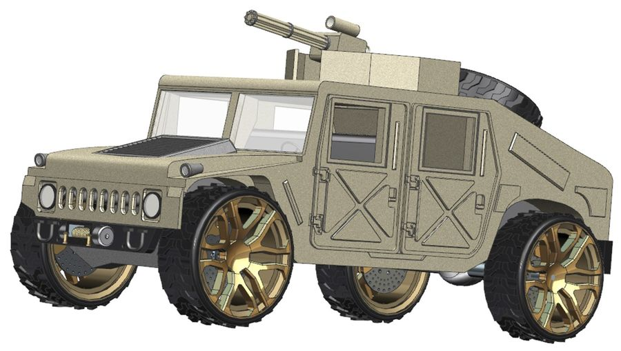 Army Hummer royalty-free 3d model - Preview no. 4