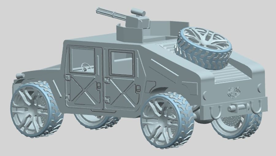 Army Hummer royalty-free 3d model - Preview no. 7
