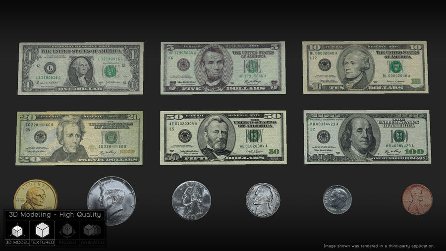 Waluta USA royalty-free 3d model - Preview no. 1