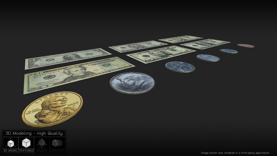 Waluta USA royalty-free 3d model - Preview no. 4