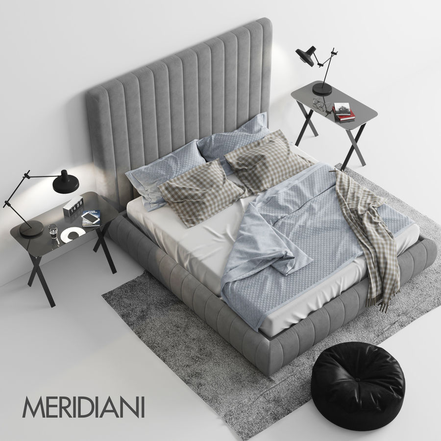 Meridiani Tuyo Bed royalty-free 3d model - Preview no. 1