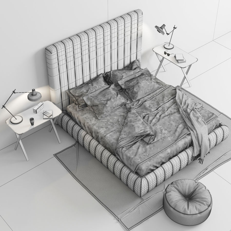 Meridiani Tuyo Bed royalty-free 3d model - Preview no. 6