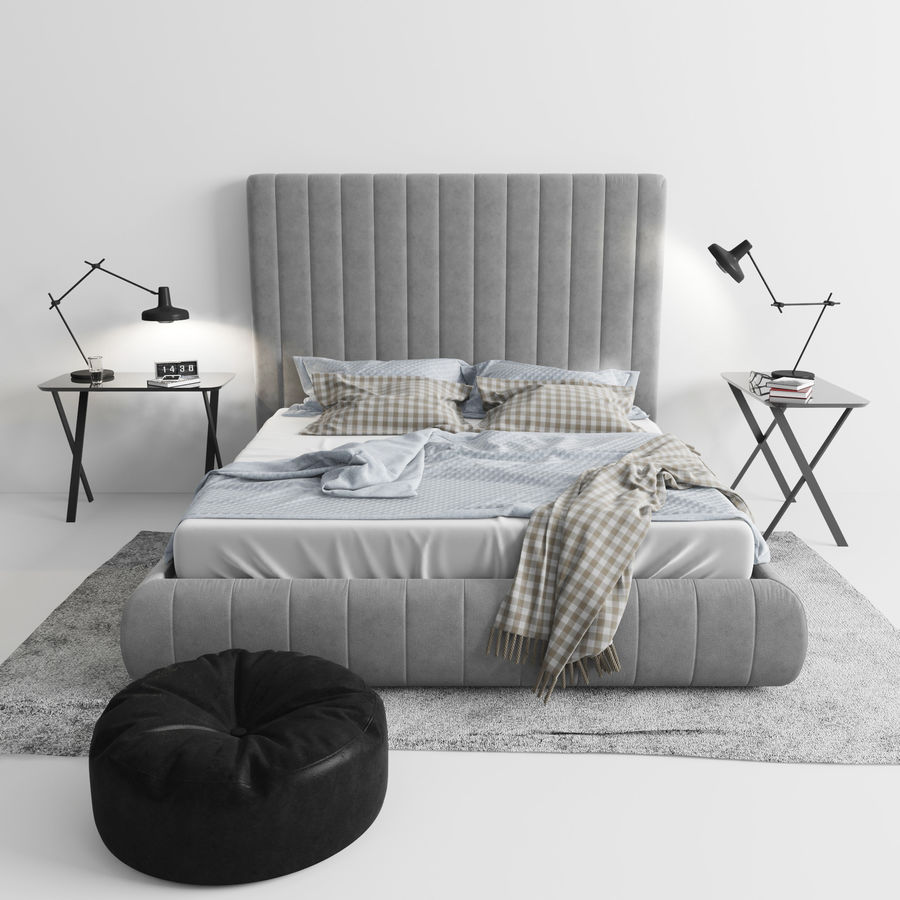 Meridiani Tuyo Bed royalty-free 3d model - Preview no. 2