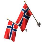 Флаги Норвегии на столбах установлены 3d model