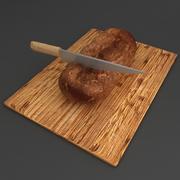 Pão pão com faca 3d model