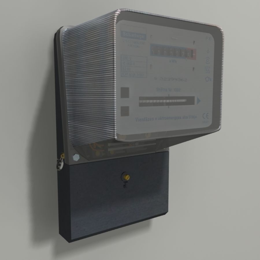 Electricity Meter royalty-free 3d model - Preview no. 1