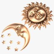 Sol y luna modelo 3d