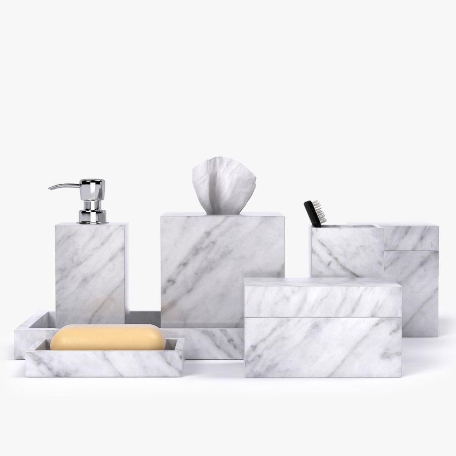Salle De Bain Marbre De Carrare accessoires de salle de bain en marbre de carrare modèle 3d