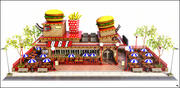 Fastfood Restaurant Cartoon 3d model