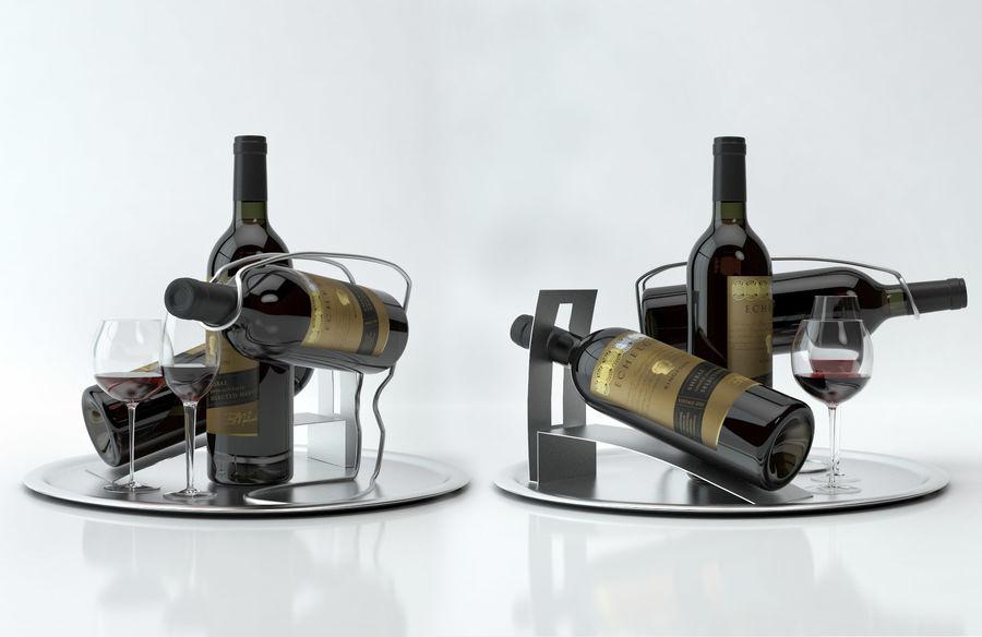 와인 14 병 12 종류의 와인 잔, 트레이, 와인 홀더 \ 스탠드 (Vray and Corona render) royalty-free 3d model - Preview no. 16