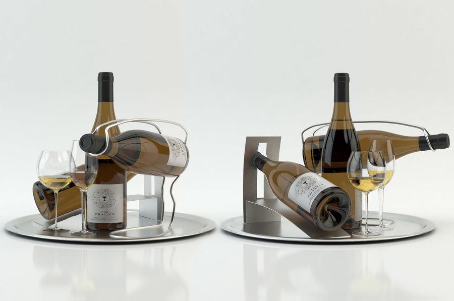 와인 14 병 12 종류의 와인 잔, 트레이, 와인 홀더 \ 스탠드 (Vray and Corona render) royalty-free 3d model - Preview no. 11