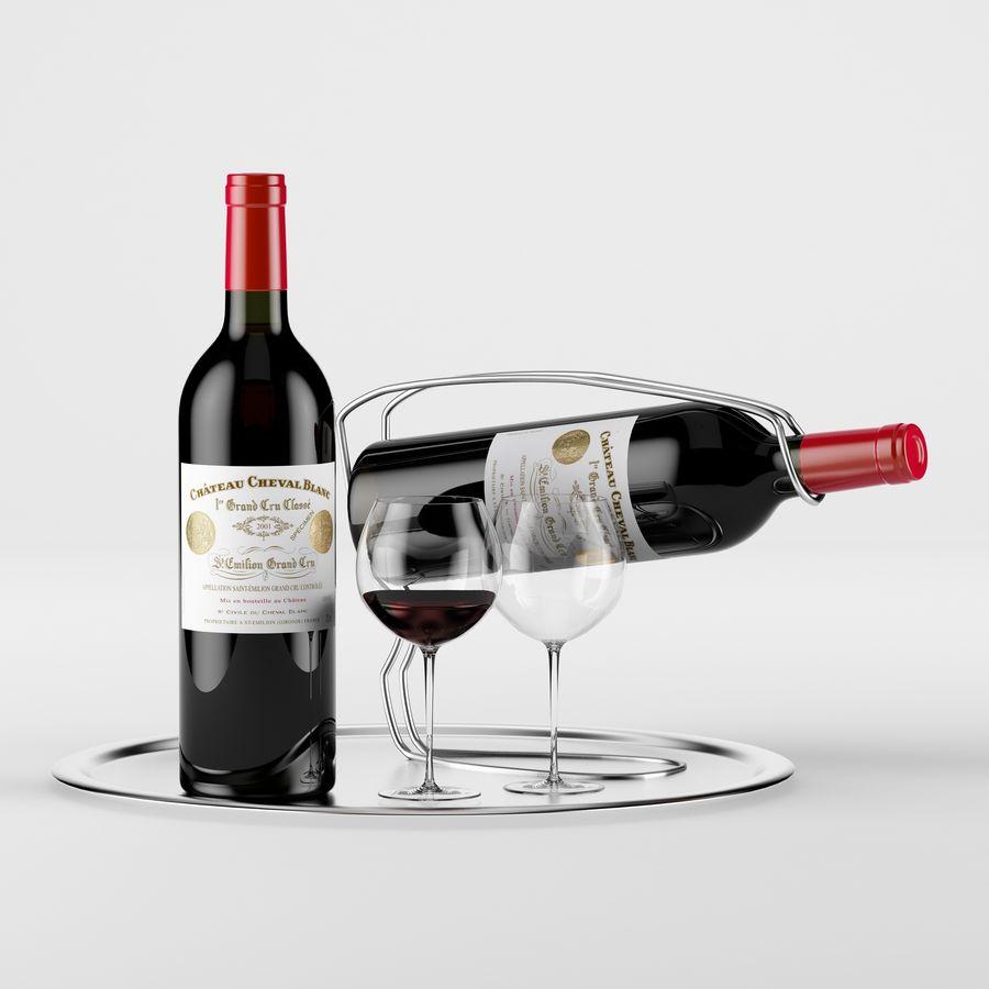 와인 14 병 12 종류의 와인 잔, 트레이, 와인 홀더 \ 스탠드 (Vray and Corona render) royalty-free 3d model - Preview no. 12
