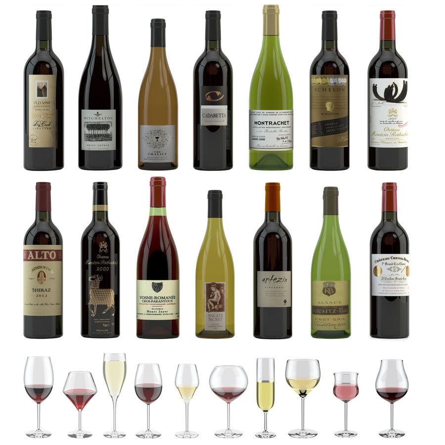 와인 14 병 12 종류의 와인 잔, 트레이, 와인 홀더 \ 스탠드 (Vray and Corona render) royalty-free 3d model - Preview no. 1