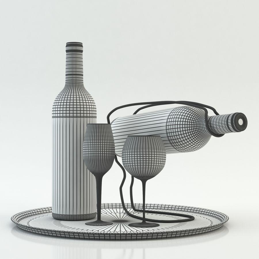 와인 14 병 12 종류의 와인 잔, 트레이, 와인 홀더 \ 스탠드 (Vray and Corona render) royalty-free 3d model - Preview no. 20