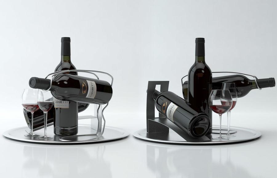 와인 14 병 12 종류의 와인 잔, 트레이, 와인 홀더 \ 스탠드 (Vray and Corona render) royalty-free 3d model - Preview no. 9