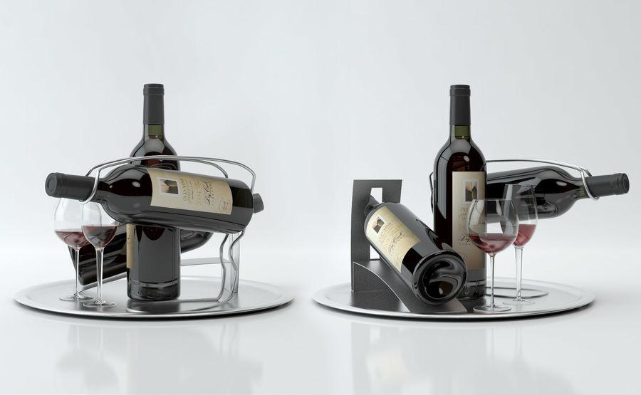 와인 14 병 12 종류의 와인 잔, 트레이, 와인 홀더 \ 스탠드 (Vray and Corona render) royalty-free 3d model - Preview no. 14