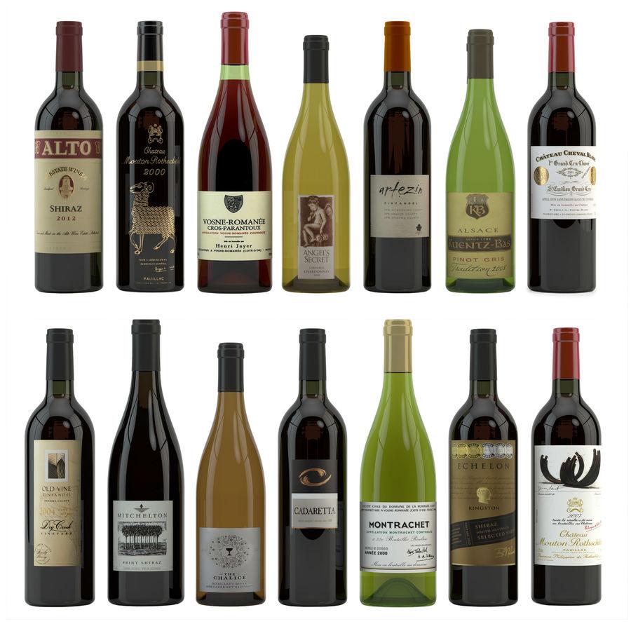 와인 14 병 12 종류의 와인 잔, 트레이, 와인 홀더 \ 스탠드 (Vray and Corona render) royalty-free 3d model - Preview no. 2