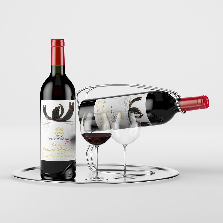 와인 14 병 12 종류의 와인 잔, 트레이, 와인 홀더 \ 스탠드 (Vray and Corona render) royalty-free 3d model - Preview no. 15
