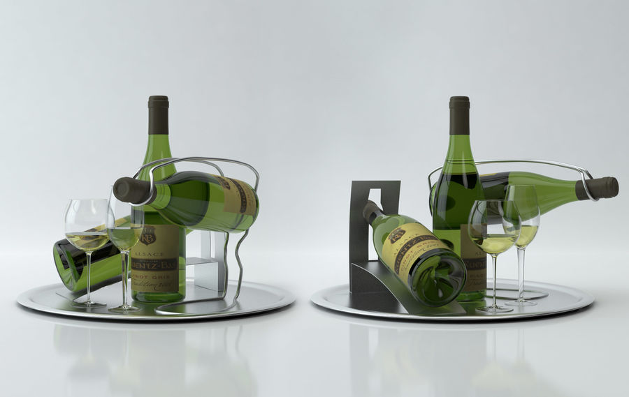 와인 14 병 12 종류의 와인 잔, 트레이, 와인 홀더 \ 스탠드 (Vray and Corona render) royalty-free 3d model - Preview no. 6