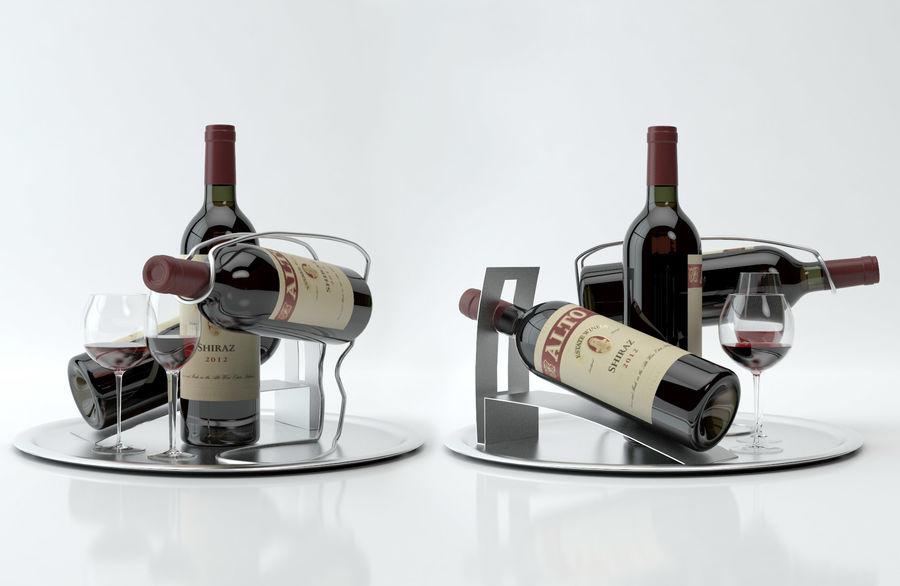 와인 14 병 12 종류의 와인 잔, 트레이, 와인 홀더 \ 스탠드 (Vray and Corona render) royalty-free 3d model - Preview no. 7