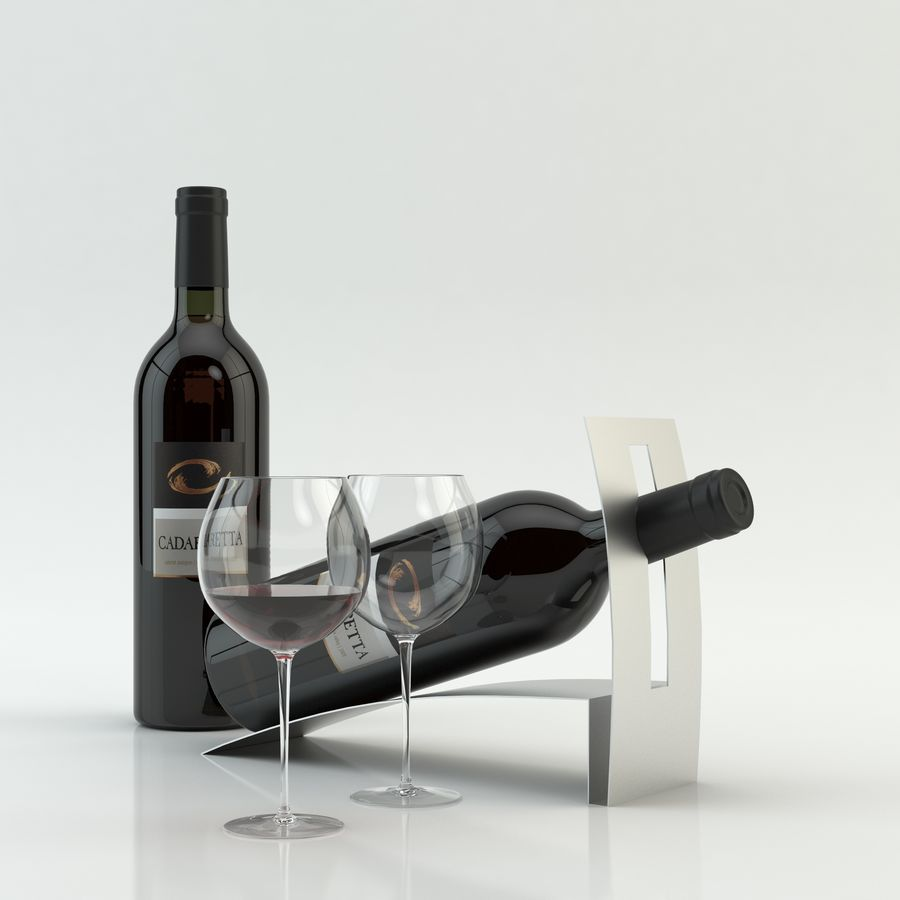 와인 14 병 12 종류의 와인 잔, 트레이, 와인 홀더 \ 스탠드 (Vray and Corona render) royalty-free 3d model - Preview no. 10