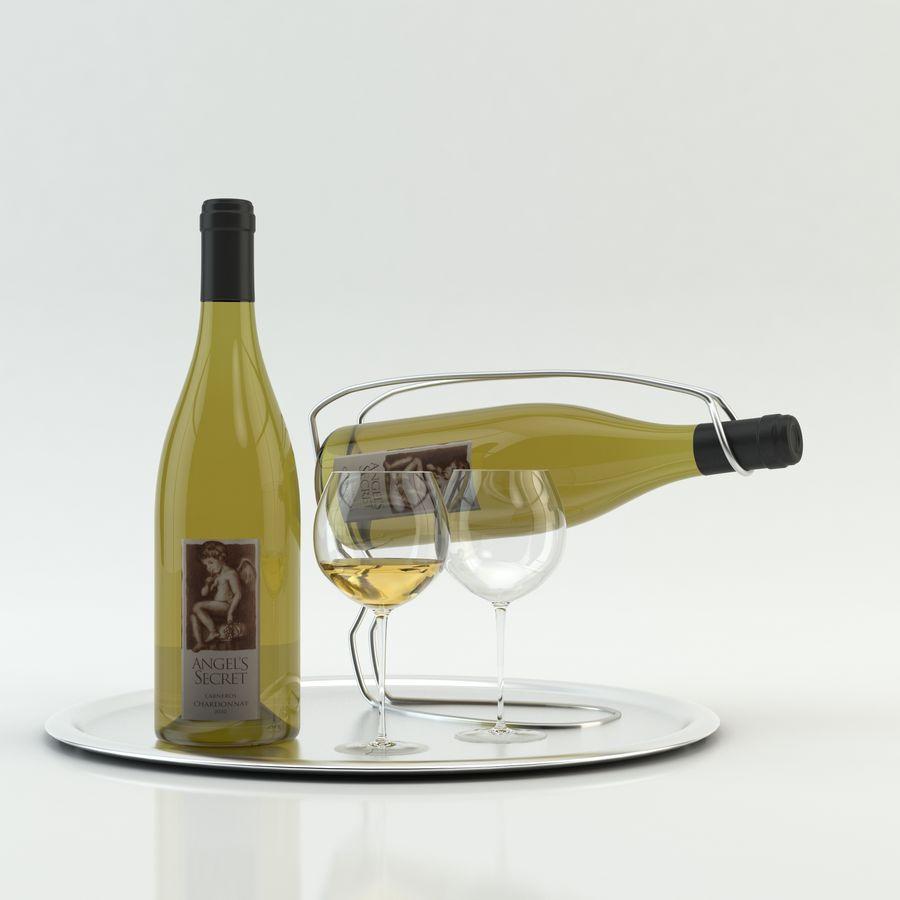 와인 14 병 12 종류의 와인 잔, 트레이, 와인 홀더 \ 스탠드 (Vray and Corona render) royalty-free 3d model - Preview no. 8