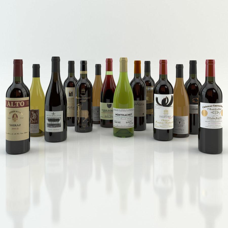 와인 14 병 12 종류의 와인 잔, 트레이, 와인 홀더 \ 스탠드 (Vray and Corona render) royalty-free 3d model - Preview no. 3