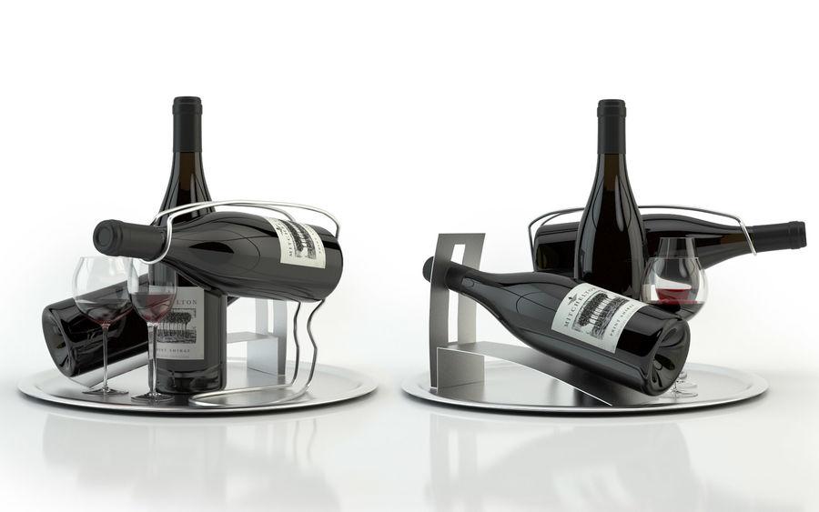 와인 14 병 12 종류의 와인 잔, 트레이, 와인 홀더 \ 스탠드 (Vray and Corona render) royalty-free 3d model - Preview no. 21
