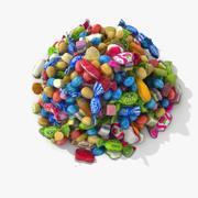 Pile de bonbons réaliste coloré 3d model