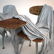 School chair covered with sheet 3d model